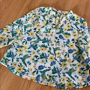 Old Navy Tunic Shirt Bird and Floral Print Blouse